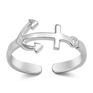Sterling Silver 925 Toe Ring Midi - Anchor